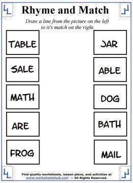words that rhyme with bench rhyming words worksheets