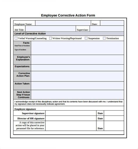 employee corrective action plan template best template