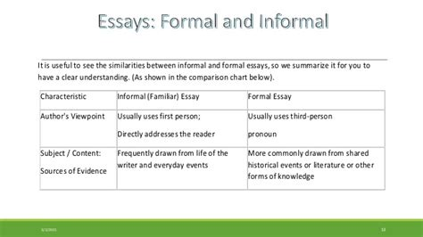 What Is Am Informal Essay by Formal Essay And Informal Familiar Essay