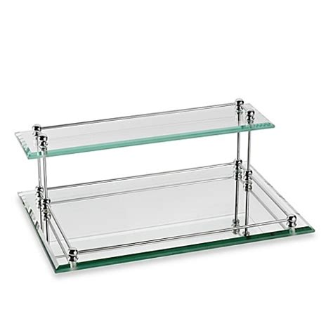 glass bathroom tray buy taymor 174 glass two tier valet tray from bed bath beyond