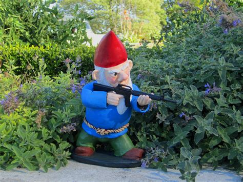 garden gnomes with guns when my brain leaks the drops drip here combat garden