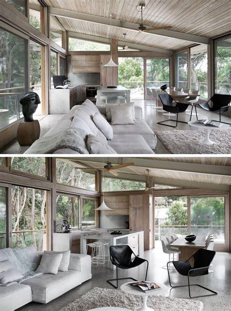 wood  concrete beach house overlooking  ocean