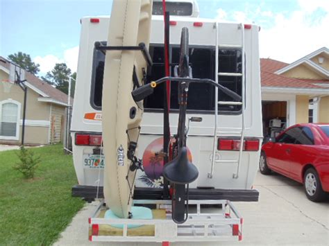 installed vertical kayak bike rack on sunrader