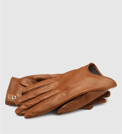 Gucci Color Center Leather Brown lyst gucci brown leather s cutaway gloves in brown