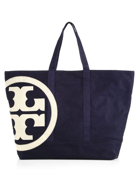 canvas zip tote tory burch beach zip canvas tote in blue tory navy lyst