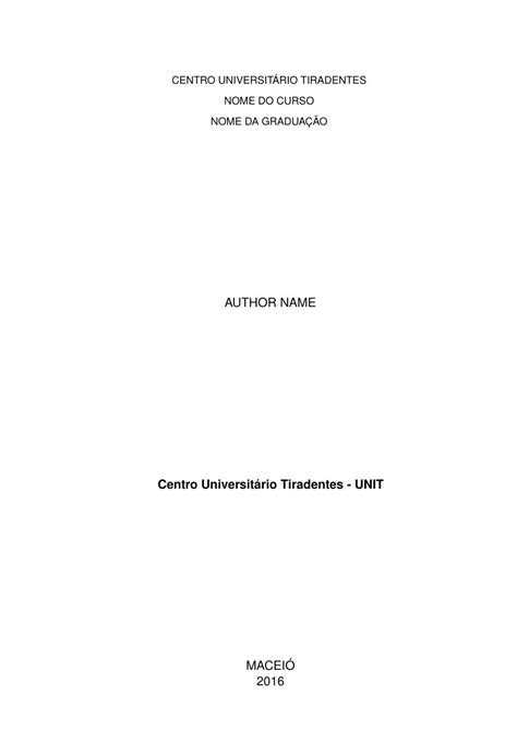 Modelo TCC Centro Universitário Tiradentes - UNIT - FastFormat