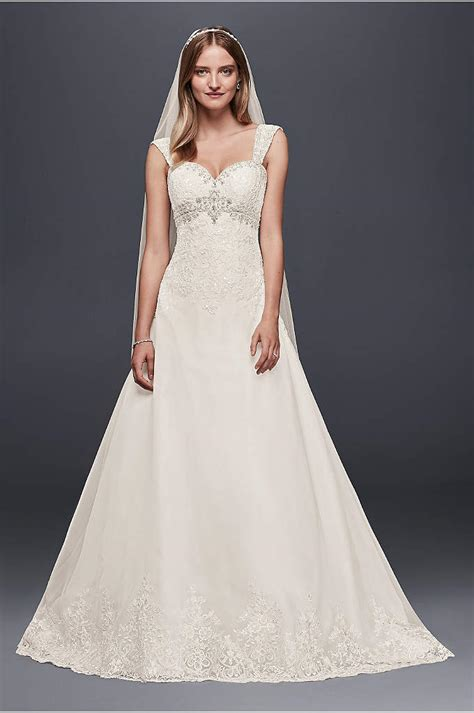 Empire Wedding Dress by Tulle A Line Wedding Dress With Swag Sleeves David S Bridal