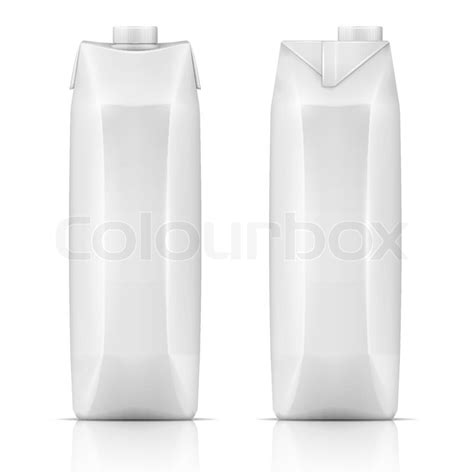 White tetra carton pack template for beverage: juice, milk