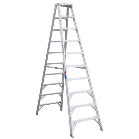 werner 10 ft aluminum step ladder with 300 lb load