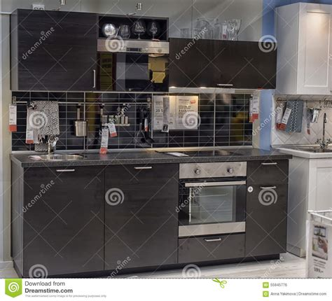 kitchen in furniture store ikea editorial image