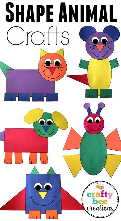 different paper crafts shape animal crafts bundle help teaching construction