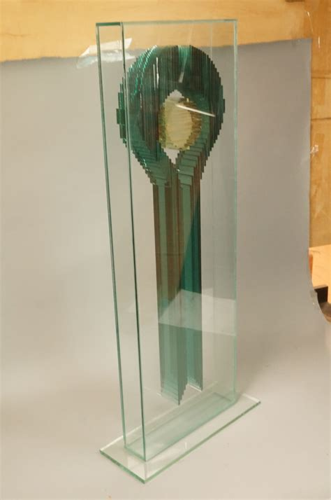 Stacked Glass L by Glass Encased Stacked Glass Sculpture Green Key