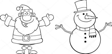 imagenes de santa claus en blanco y negro black and white happy santa claus and snowman stock