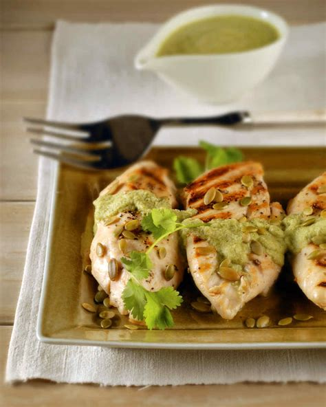 grilled chicken with pumpkin seed sauce