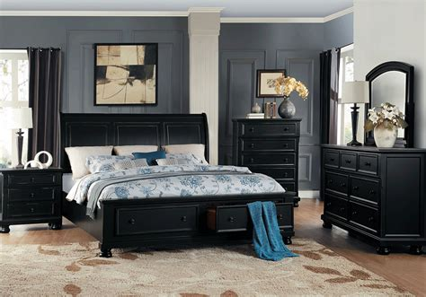 black bedroom sets for less overstock com laurelin black queen storage bedroom set lexington