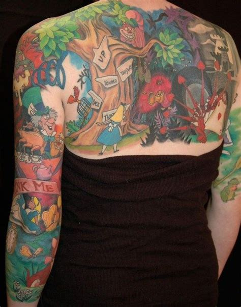 cartoon themed tattoo sleeve the disney hippy quot i swear by my tattoo quot