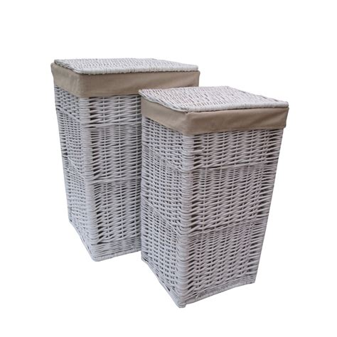 Square White Wicker Laundry Basket Square Laundry