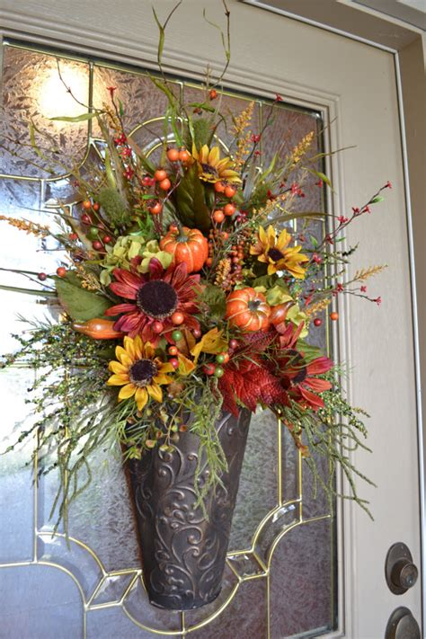 Front Door Flower Arrangements Fall Arrangement In Metal Container