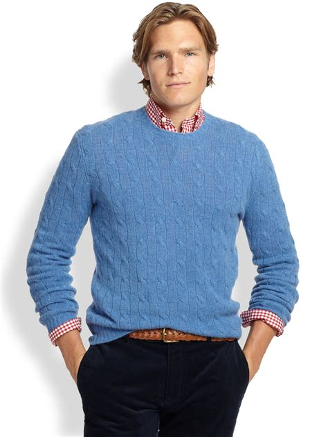 polo knit sweater lyst polo ralph cable knit sweater in
