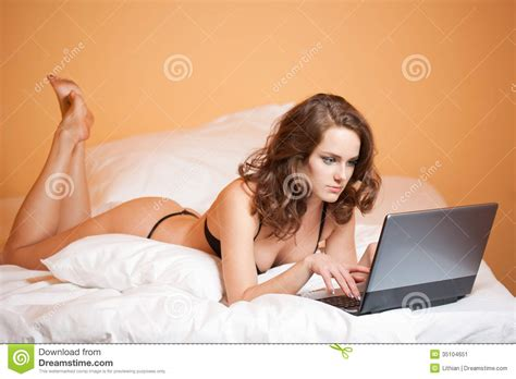 In Bed With by In Bed With Laptop Stock Image Image 35104651