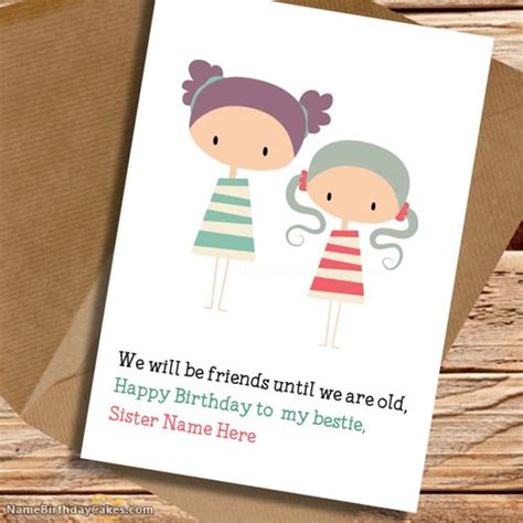 Write Name On Birthday Card Write Name On Cute Birthday Card For Sister Happy