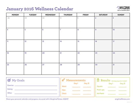 printable planner for january 2016 january 2016 printable exercise calendar calendar