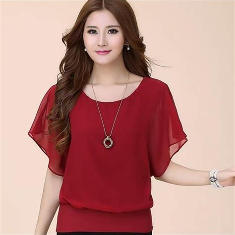 Blouse Siffon 01 blouses shirts 2016 new summer chiffon blouse tops for plus size ruffle