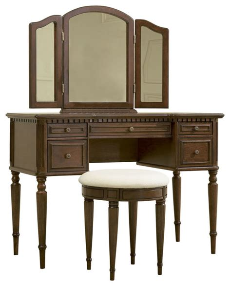 vanity for bedroom for makeup powell warm cherry vanity with mirror and bench