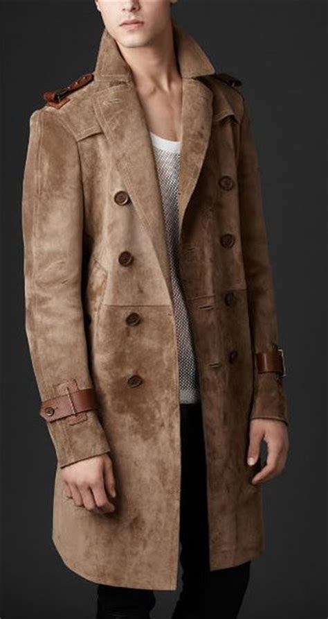 burberry bonded suede double breasted trench coat dapper