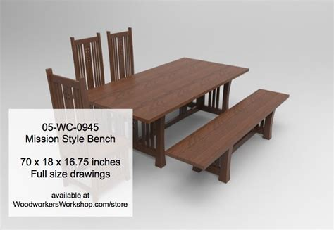 mission style bench plans 05 wc 0945 mission style bench woodworking plan