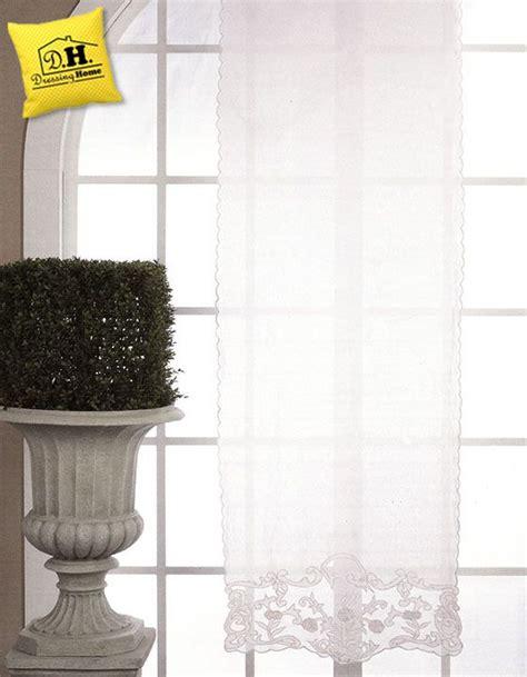 tenda co base tenda finestra shabby chic in misto lino cotone con decori