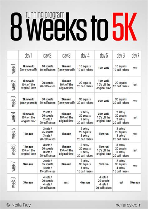 printable running schedule 8 week to running 5k may come in handy for my upcoming