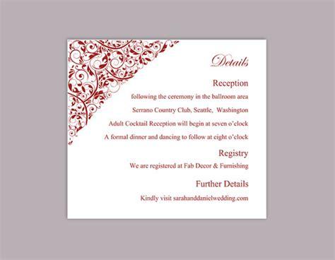 Printable Editable Card Template by Diy Wedding Details Card Template Editable Text Word File