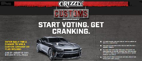 49000 Cash Giveaway - grizzly customs instant win game and sweepstakes