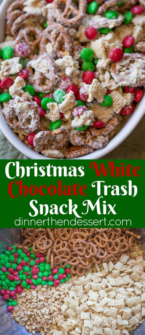 christmas white chocolate trash snack mix with pretzels