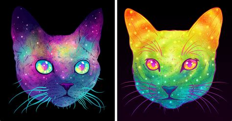 galactic cats psychedelic illustrations merge cats and space