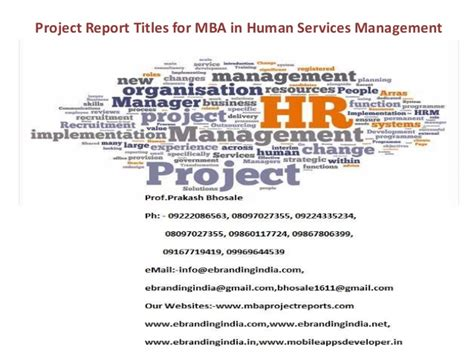 Use Mba In Title by Project Report Titles For Mba In Human Services Management