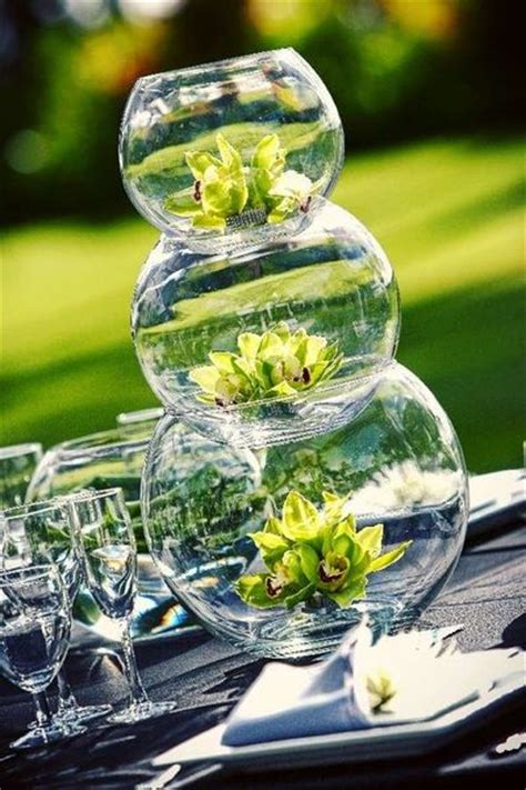 lovely centerpiece made from stacked fish bowls birthday