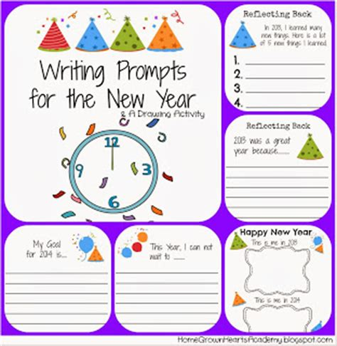 new year writing prompts home grown hearts academy homeschool free printables