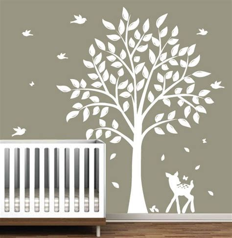 White Tree Wall Decals For Nursery Wall Decals Children S White Tree Decal With Birds Fawn Nursery Wall Via Etsy