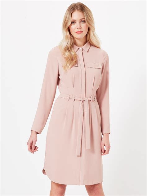 light pink shirt dress miss selfridge tie up shirt dress in pink lyst