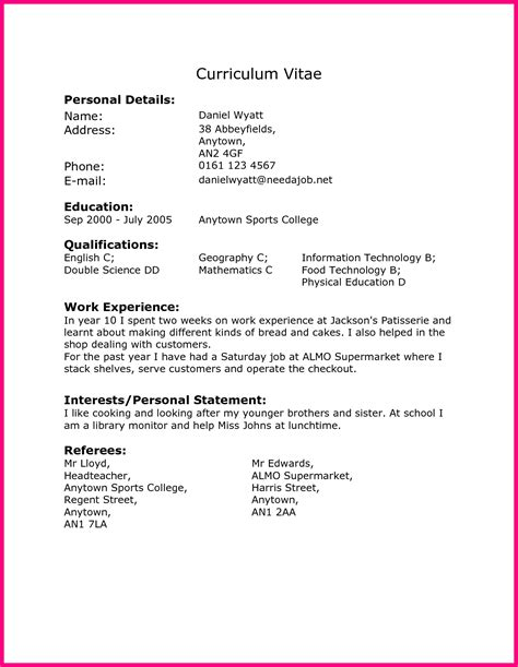 Exle Cv For Work Experience Year 10 | work experience cv template year 10 c45ualwork999 org