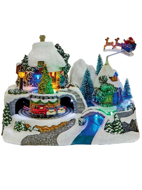 moveable christmas train ornaments animated decoration ornament moving light up led snow ebay