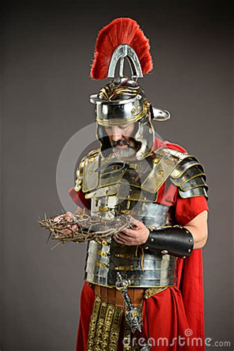 roman soldier honding crown  thorns stock photo image