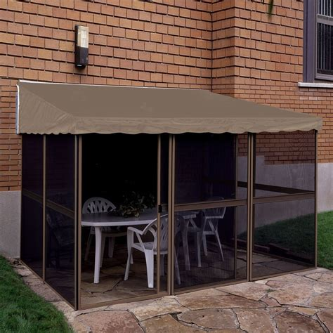 add a room gazebo shop gazebo penguin add a room sand taupe aluminum rectangle screened gazebo exterior 15 08 ft