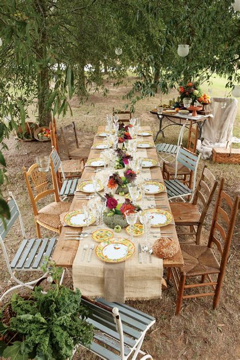 outdoor table setting rustic wedding table decoration ideas rustic