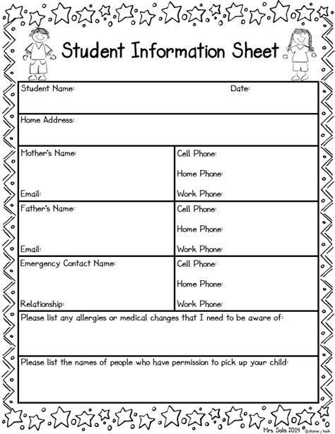 free templates for info cards for students mrs solis s teaching treasures student information sheet