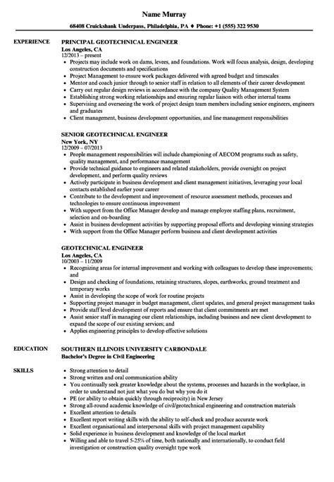 Geotechnical Engineer Sle Resume by Engineer Resume Sles Embedded Hardware Engineer Cover Letter