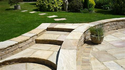 Patio Design And Natural Stone Walling Landscape Garden Indian Patio Design