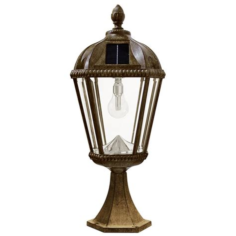 Gama Sonic Royal Bulb Series Outdoor Weathered Bronze Solar L Post Light